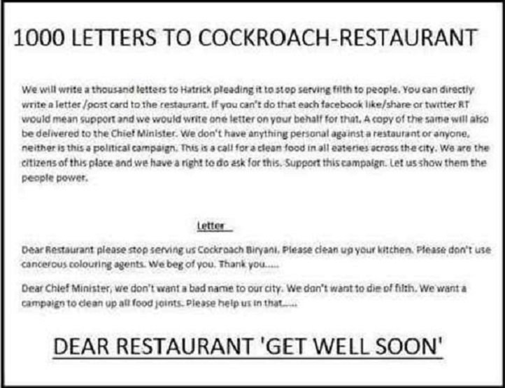 Cockroach Biryani Leads To Munna Bhai Style Protest Against Restaurant ...