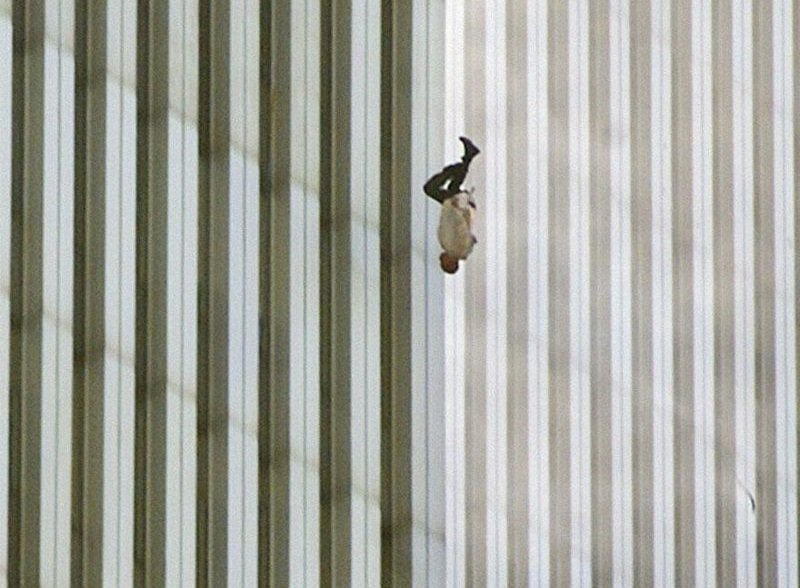 17. A man jumps to his death from the World Trade Centre during the 9/11 attack.