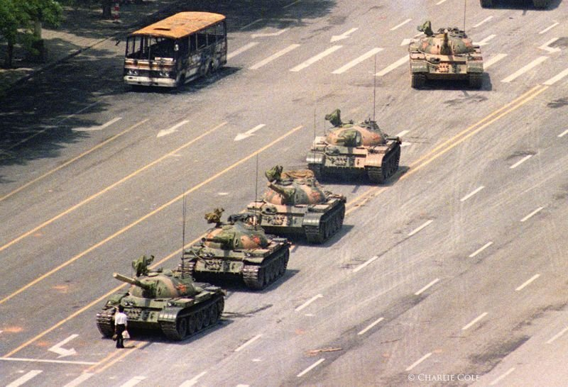 18. The unknown yet famous 'Tank Man', who stood in front of a column of Chinese tanks on June 5, 1989, during the Tiananmen Square protests.