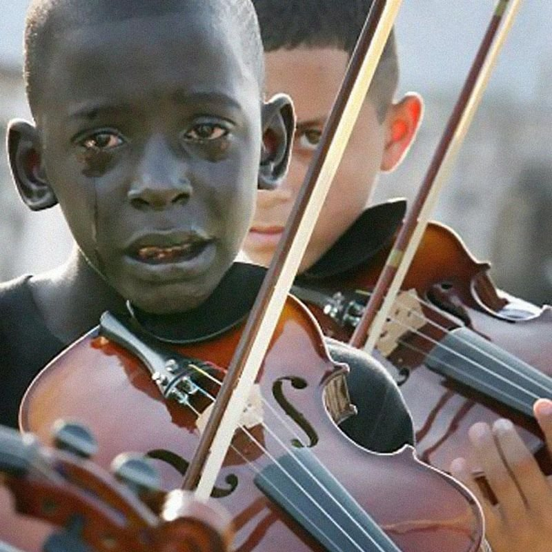 20. 12-year-old Brazilian kid, Diego Torquato, plays violin at his teacher's funeral, who had helped him escape violence & poverty through music.
