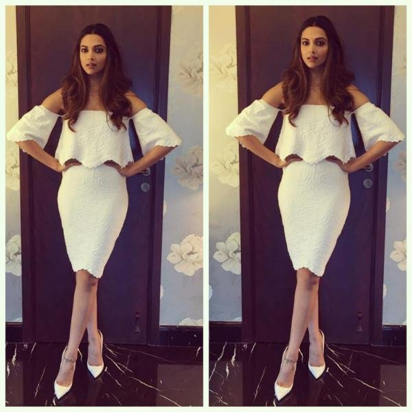 ff1acbf11e6c 1. That s exactly how you wear a trend as casual as an off shoulder top to  make it look so chic and sophisticated. Deepika Padukone in an all-white  ensemble ...