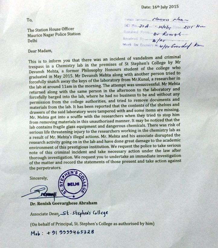 St stephens registers complaint against ex student devansh mehta altavistaventures Choice Image