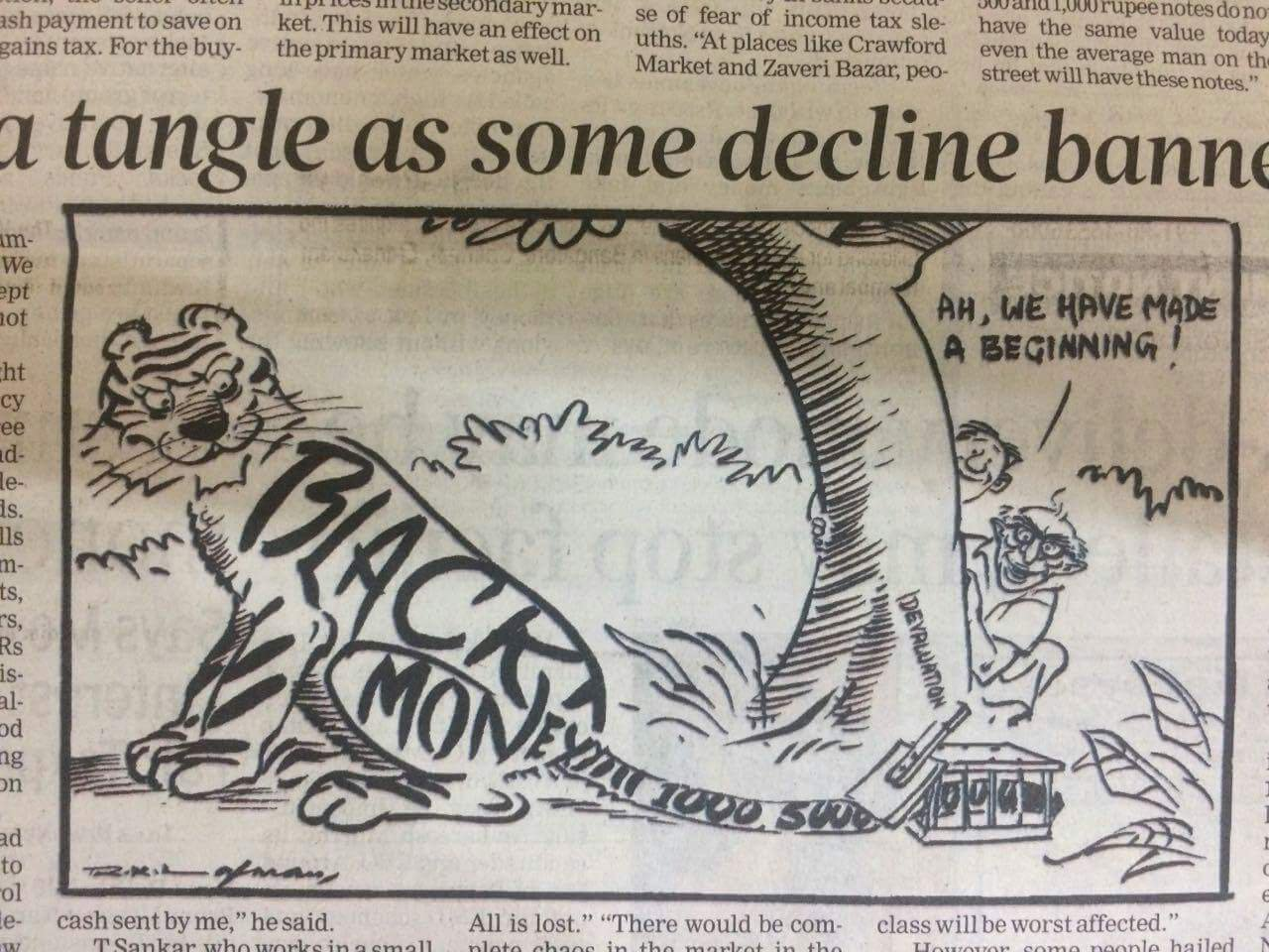 R K Laxman cartoon on banning notes in 1978