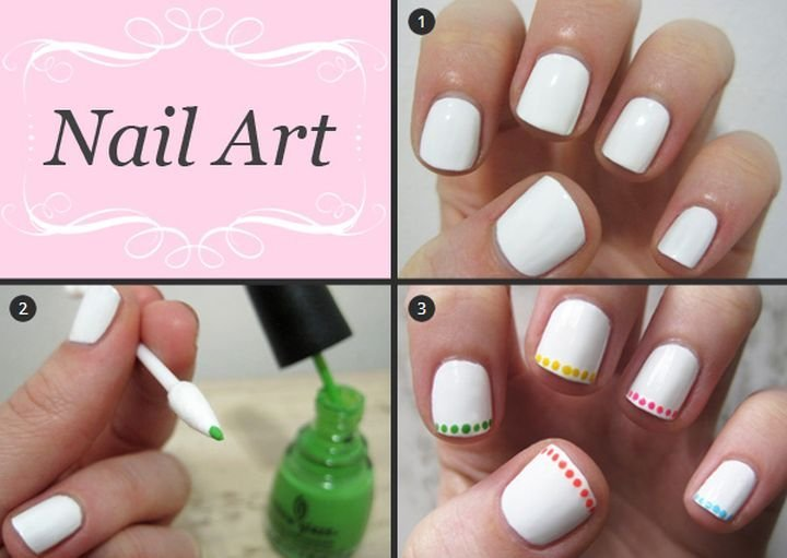 20 simple beautiful nail art ideas you can try out at home this the dotted row nails prinsesfo Choice Image