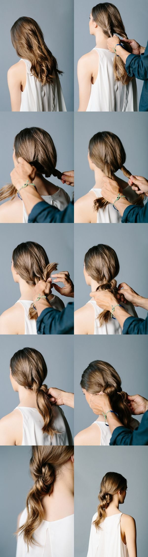 Step 2: Tie Another Knot And Use A Hair Tie To Keep It In Place. Step 3:  Wrap Hair Around The Tie To Conceal It.