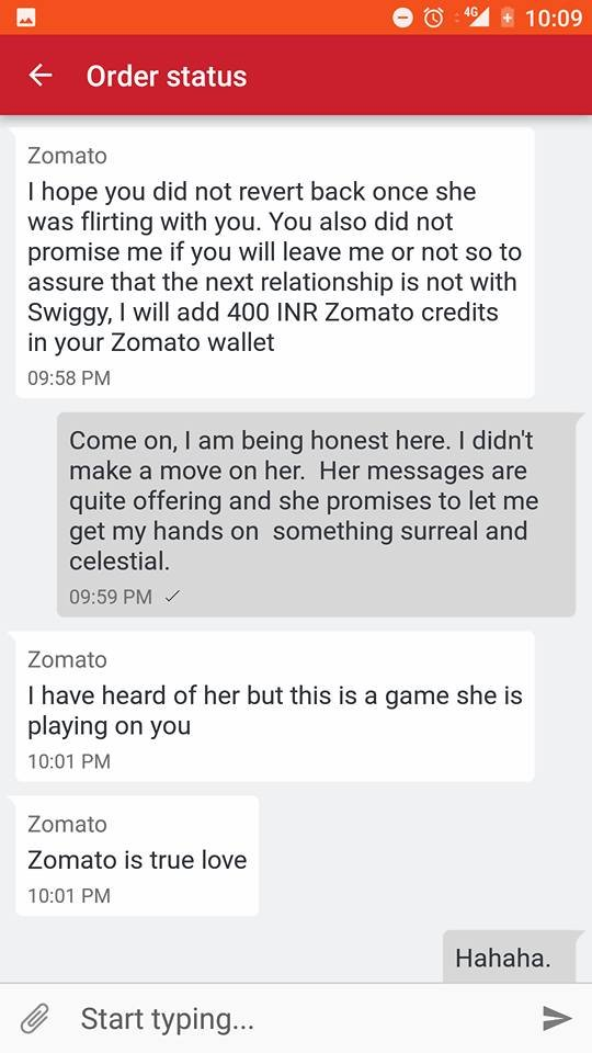Krisshna got 400 Zomato credits while we wish we were good  conversationalists too.