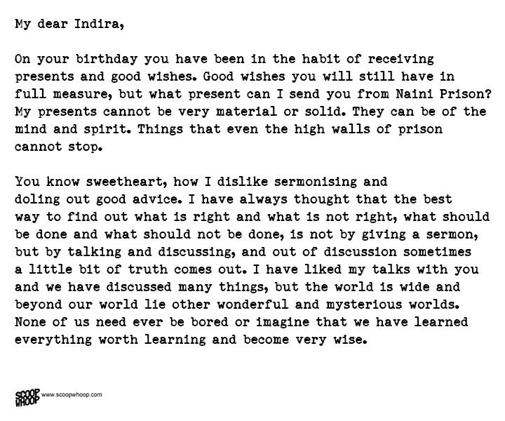 NehruS Letter To Daughter Indira From Prison Is The Best Advice A