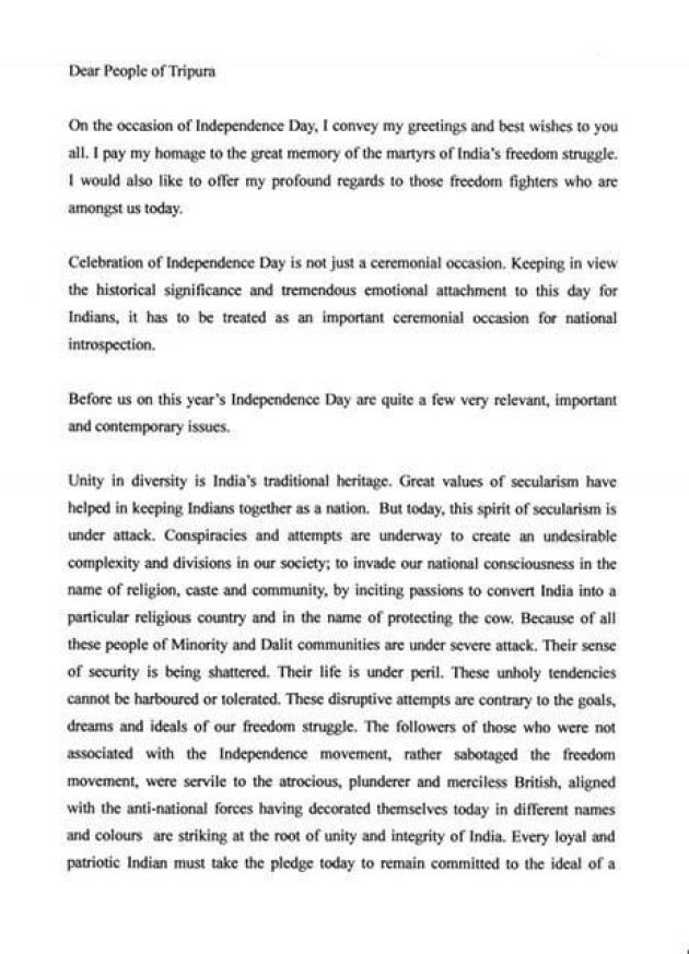 Heres the full text of tripura cms i day speech which dd air don heres the full text of sarkars speech which the two broadcasters refused to air m4hsunfo