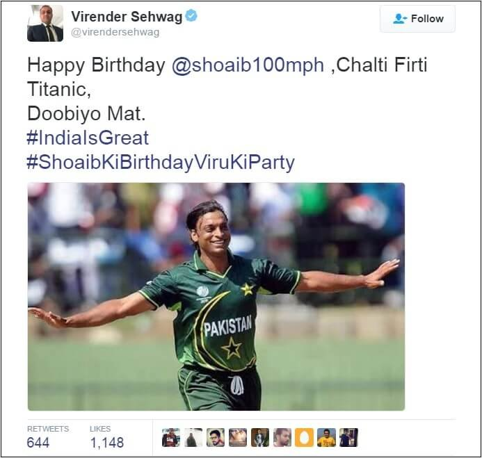 It's Shoaib Akhtar's Birthday Today & Sehwag Wished Him