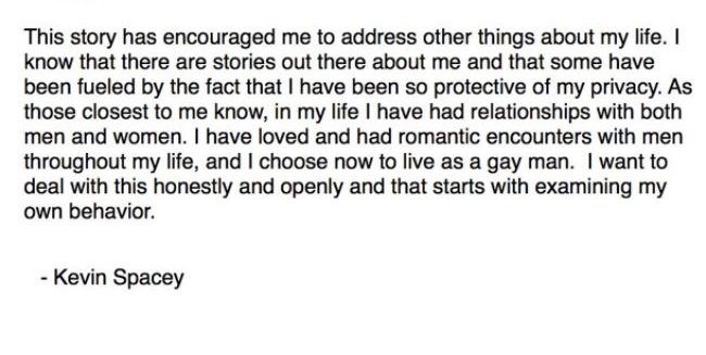 Kevin spacey comes out as gay in an apology letter after another anthony rapps decision to come forward after all these years drew inspiration from women coming forward against harvey weinstein and james toback altavistaventures