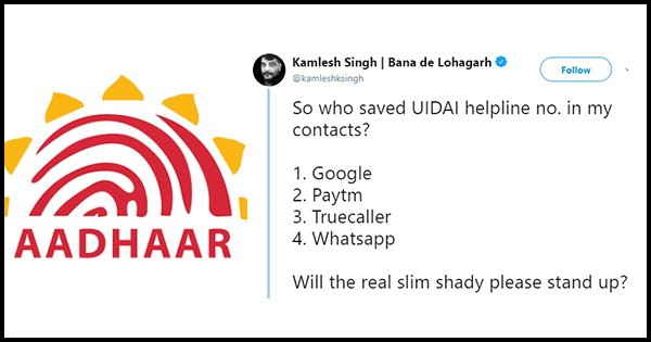 uidai number in contacts