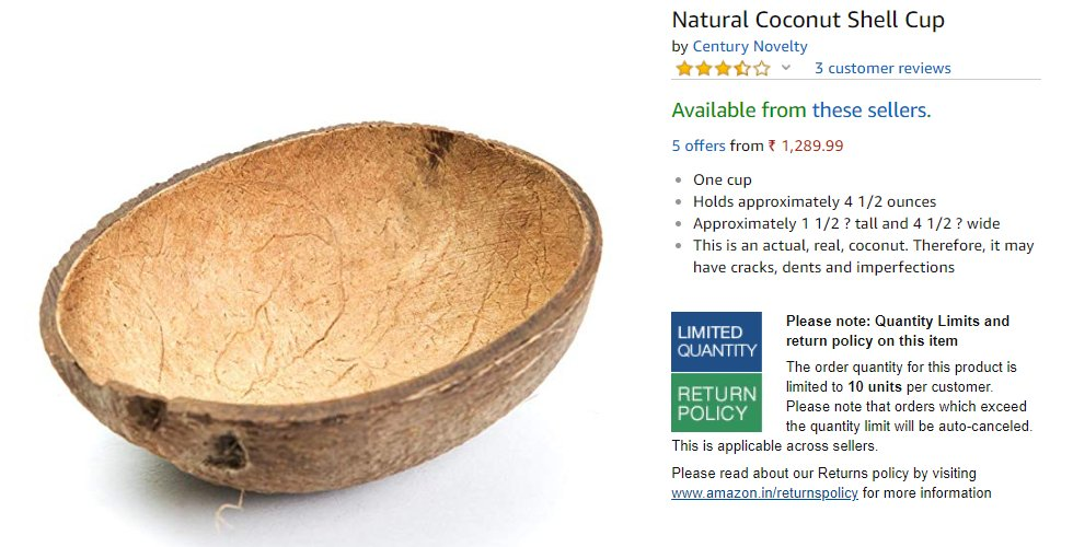 e442085ee Someone Is Selling Natural Coconut Shell Cups For ₹1