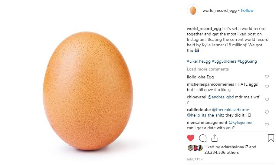 With 23 Million Likes An Egg Dethrones Kylie Jenner To Become The
