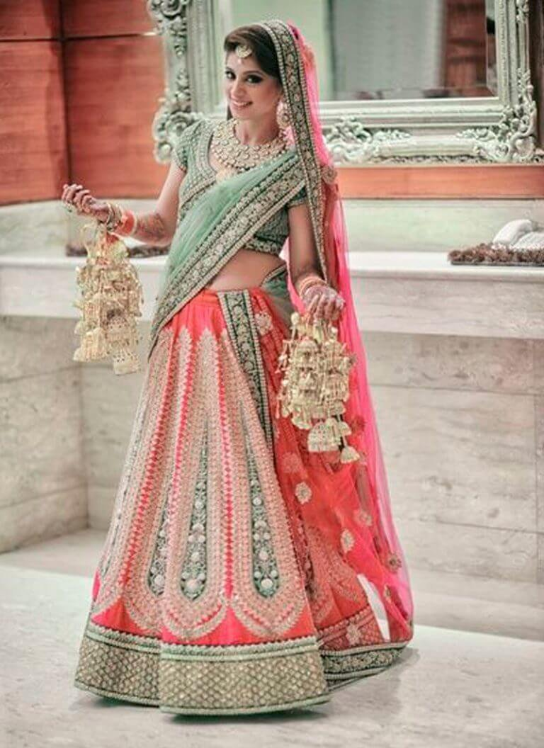 Take A Subtle Pink And Add Some Bling To It For The Perfect Bridal Lehenga