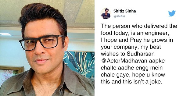 Man Blames Madhavan Because His Delivery Boy Was An Engineer. Maddy Tweets Back Some Life Advice