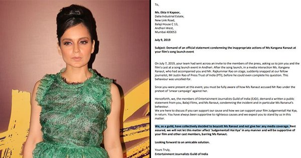 Entertainment Journalists To Boycott Kangana, Demand Apology After Her Spat With Journalist