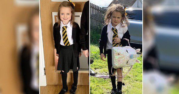 Mother Shares Before & After Pics Of Her Daughter's 1st Day Of School. We've All Been There, Right?