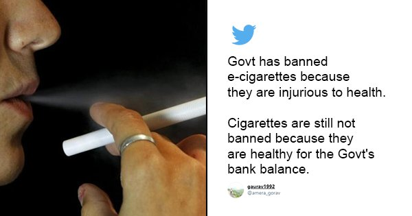 Good Or Bad? Twitter Divided As Govt Bans E-Cigarettes In India