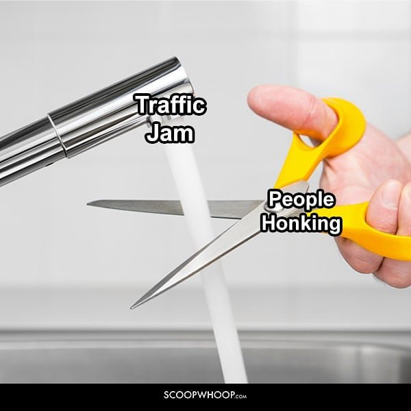 Traffic jams and people honking
