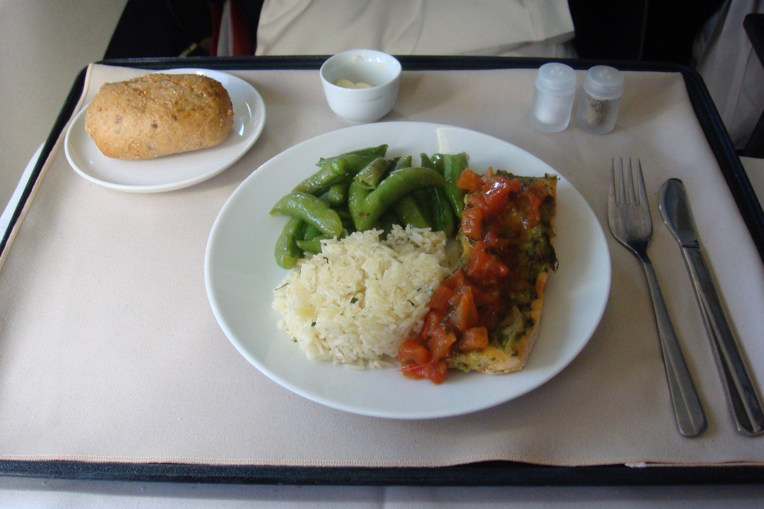 Representation of food served on airplane