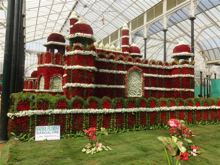 red fort made out of flowers