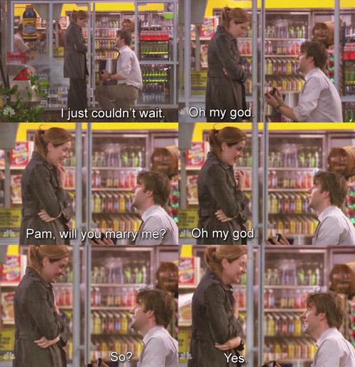 Jim and Pam proposal scene from The Office