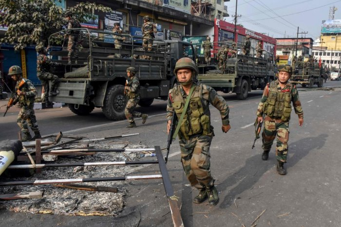 Army in Assam CAB protests