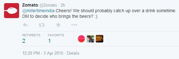 Miller and zomato recently engaged in a battle of puns on twitter zomato extended a lets catch up over a couple of beers invitation to the beer brewer stopboris Image collections