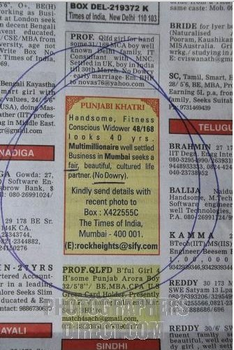 Newspapers with dating adverts