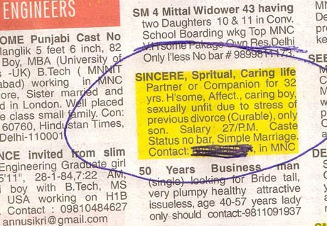 14 Matrimonial Ads on Indian Newspapers That Seem Too Funny